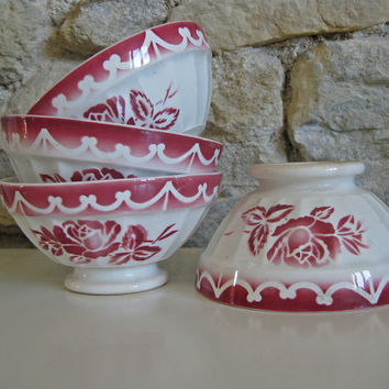 French cafe au lait bowls, pair of Digoin pink flowered bowls
