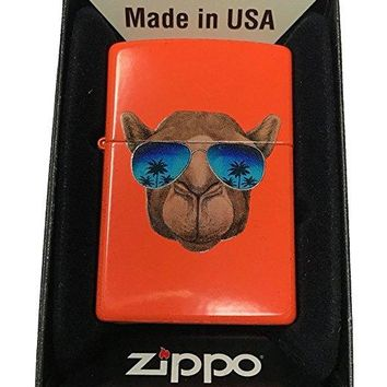 Zippo Custom Lighter - Cool Camel w/ Blue Sunglasses & Palm Trees - Neon Orange