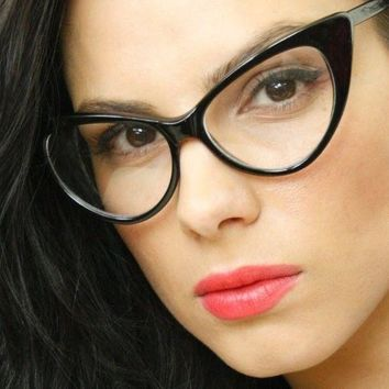 """Cateye Glasses"" BLACK cat eye nikita ford pointy clear lens nerd geek"