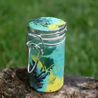 Small abstract nug jar, Hand painted colorful glass storage jar air tight