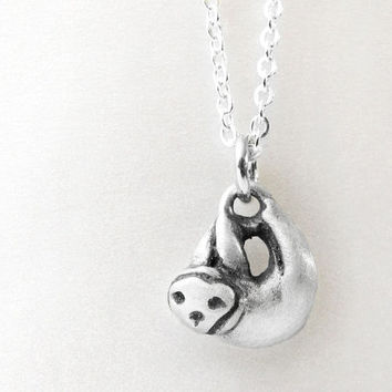 Sloth necklace - sterling silver sloth jewelry - very tiny pendant necklace eco friendly