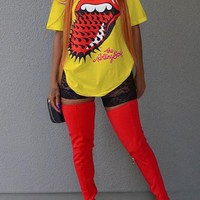 Yellow The Rolling Stones Pattern Round Neck Plus Size Streetwear Casual T-Shirt