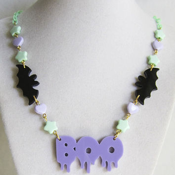 Lavender Boo Dripping with Cute Bats Mint Stars Lavender Hearts Acrylic Laser Cut Necklace Fairy Kei Kawaii Lolita