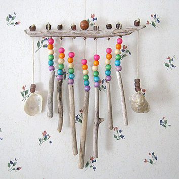 Driftwood and Rainbow Beads Wall Hanging, Oregon Driftwood Beach Decor
