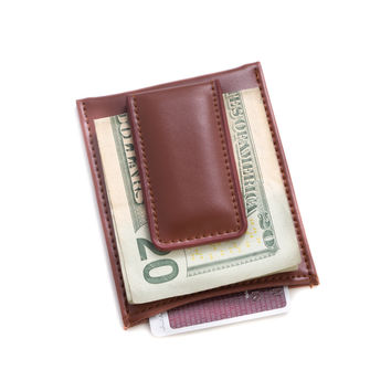 Brown Leather Magnetic Money Clip & Wallet