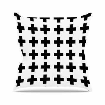 """Suzanne Carter """"Swedish Cross"""" Black White Outdoor Throw Pillow"""