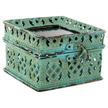 Turquoise Iron Jewel Box with Mirror Top | Hobby Lobby
