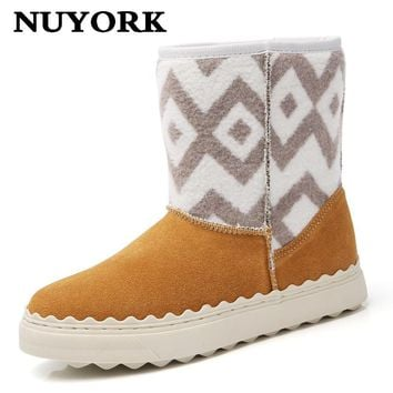 NUYORK New warm faux fur snow boots women winter fashion ankle boots black brown 2017 long floss women shoes