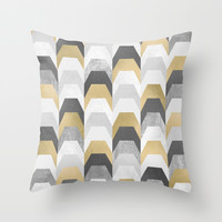 Stacks of Gold and Grey Throw Pillow by Elisabeth Fredriksson