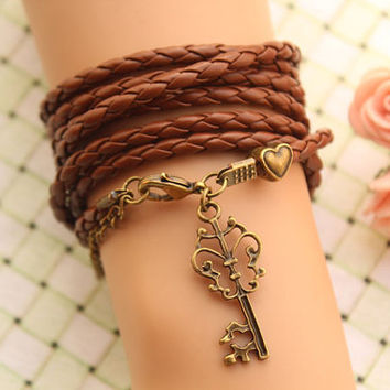 Blessed bracelet,KEY bracelet,retro love heart Pandora bead Multilayer bracelet,,brown leather bracelet---B234