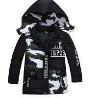 Kid Cotton Warm Coat Children Boys Camouflage Fashion Thicken Hooded Outerwear Jackets Winter