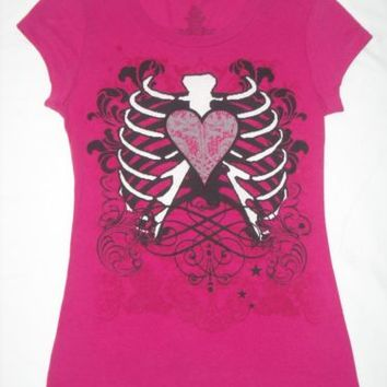 Ribcage Heart T-Shirt Size Small Gothic Goth Rib Cage Skeleton Hot Pink Black