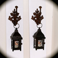 """Iron Lantern Sconce PAIR Shabby Chic ** ~24"""" Tall x 5.5"""" wide- Beautiful- Can't you Picture These in Your Home ???  BeachDazzled ORIGINAL"""