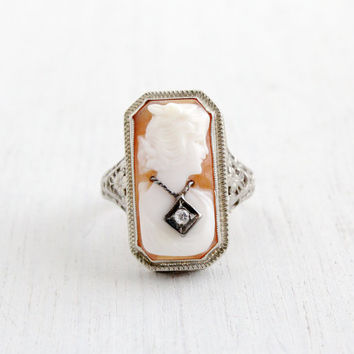 Antique 14k White Gold Diamond Cameo Ring - Size 7 Vintage 1930s Art Deco Habillé Carved Shell Floral Filigree Fine Jewelry