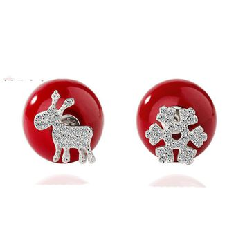 Sterling Silver Jewelry Red Lovely Fawn Snowflake Stud Earrings For Women Christmas Gifts