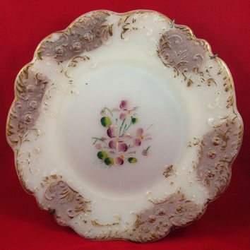 Victorian Floral Embossed Milk Glass Plate, Antique