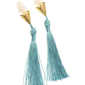 BREAKFAST AT TIFFANY'S INSPIRED FRENCH BLUE TASSEL EARPLUGS