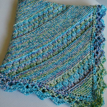Knit Baby Blanket, Knit Blue Blanket, Baby Bedding, Lace Panel Blanket, Play Mat, Crochet Trim