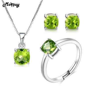 MoBuy Women's Genuine Peridot Gemstone 3PCS Ring Jewelry Set