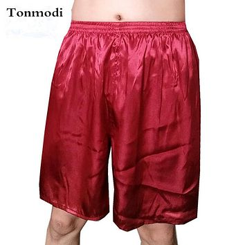 Pyjamas Mens Shorts Summer Silk Shorts Pants Brief Solid Color Home Casual Sleep Pants Sleep Bottoms