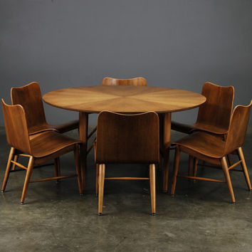 Game Room Set Table and 6 Chairs Mid Century Modern