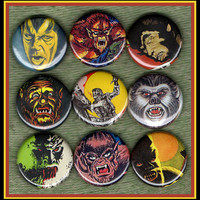 "9 Horror Movie WereWolfs 1"" inch buttons, medallions or magnets lycanthrope set"