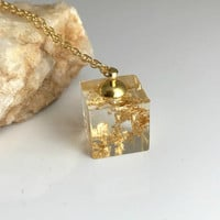 Gold Leaf Cube Necklace, clear resin square pendant flake gift for her Mother's Day Anniversary girlfriend wife