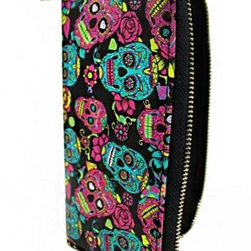 Pink & Teal Sugar Skull Zip Wallet