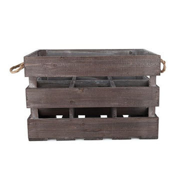 Twine Rustic Farmhouse Wooden 6-Bottle Crate, Wood