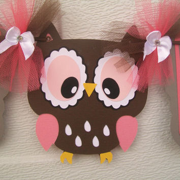 Owl baby shower banner, its a girl banner, coral, pink, brown, grey and white