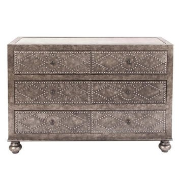 Howard Elliott Mottled Gray Dresser with Studded Design and Antique Mirror 68062