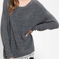 Just a hint of Lace Grey Relaxed Fit Sweater