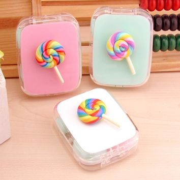 LIUSVENTINA DIY cute Rainbow paisley lollipop contact lens case for eyes contact lenses box for glasses spectacle case