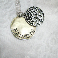 Lotus and Namaste Charm necklace - silver plated lotus flower with Namaste hand stamped antiqued bronze blank