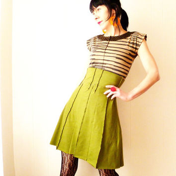 Early Spring  - iheartfink Handmade Womens Artistic Solid Green Structured High Waist Aline Skirt
