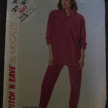 Spring Fever Sale UnCut 1980's McCall's Stitch 'N Save Sewing Pattern, 3217! Size 12-16, Medium to Large, Women's, Sweats, Jogging Suit, Pa