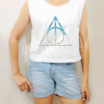 Deathly Hallows Shirts Summer Beach Shirts Symbol Harry Potter Shirts Crop Top Crop Tee Women Tank Top Women Tunic Women Shirts - Size S M L