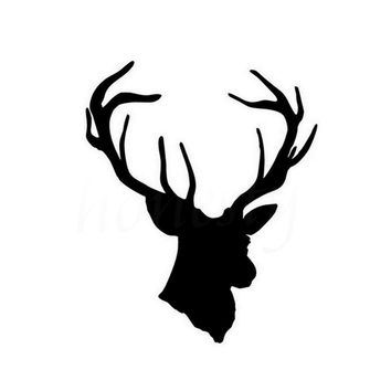 Cool Deer Head Hunting Car Sticker Wall Home Glass Window Door Laptop Auto Truck Bumper Vinyl Decals Decor Black 11.4cmX13.8cm