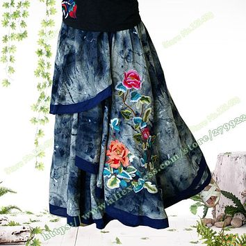 Vintage Casual Novel Asymmetrical Embroidered Flower Denim Female Long Skirt / Jeans Maxi Skirts for Womens