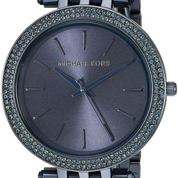 DCCKWA2 Michael Kors Women's Darci Navy IP Three Hand Watch