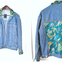 up cycled Asian dragon print oversized vintage denim jacket