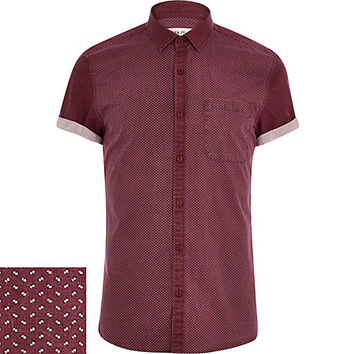 River Island MensDark red ditsy print panel shirt
