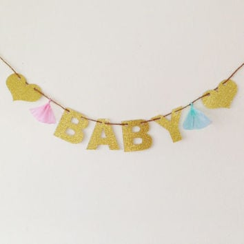 BABY Glitter Banner - Baby Shower Banner, Shower Banner, Baby Shower Decoration, It's a Girl, It's a Boy, Twins