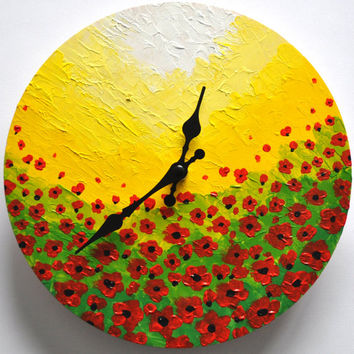 Hand Painted Wall Clock, Unique Wall Clock Painted with Acrylics, Wooden Clock, Flowers Art Clock, Original Art, Kitchen Wall Clock
