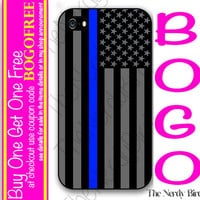 Thin Blue Line American Flag Plastic or Rubber iPhone 4, 5, or 5C Case Fall Sale!!! BOGO FREE!!!!