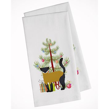 Yellow-Throated Marten Christmas White Kitchen Towel Set of 2 BB9241WTKT