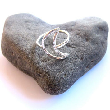 Crescent Moon Ring, Sterling Silver, Hammered, CUSTOM, Handmade, Gift for Her
