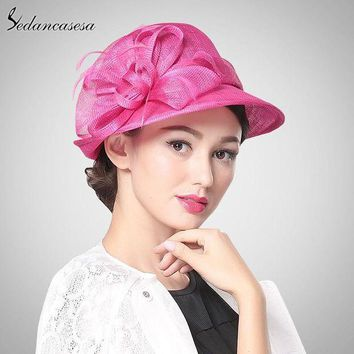 ONETOW Hot Pink Church Hat Philippines Sinamay Hats for Ascot Races,Mebourne Cup,wedding,Kentucky derby,Party