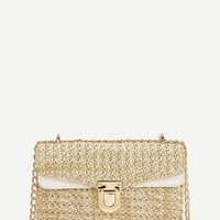 Weave Detail Chain Crossbody Bag