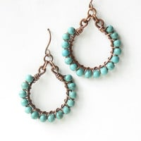 Turquoise hoop earrings - wire wrapped copper with stone beads